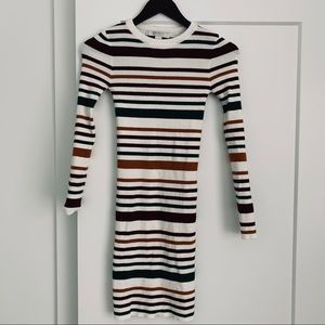 Forever 21 Stripped Body Con Sweater Dress.